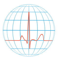 cardio planet earth heart pulse cardiogram vector image