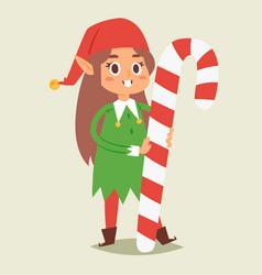 christmas elfs kids children santa claus vector image