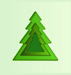 christmas tree papercut geometric frame vector image