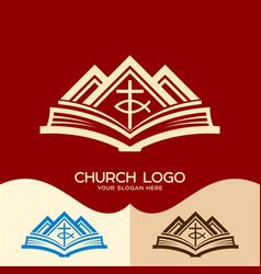Cross of jesus the bible and the mountains vector