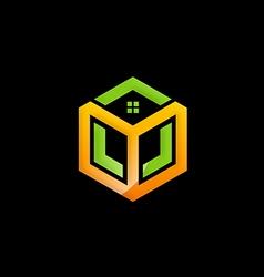 Cube house abstract construction logo vector