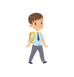 Cute boy walkling with backpack pupil in school vector