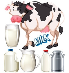 Dairy products with cow and fresh milk vector image