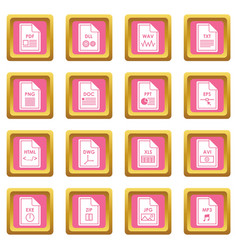 file format icons pink vector image