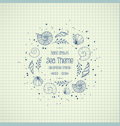 Frame with seashells in sketch style on paper vector