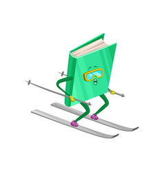funny humanized book character skiing on a slope vector image