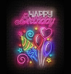 glow greeting card with different balloons vector image