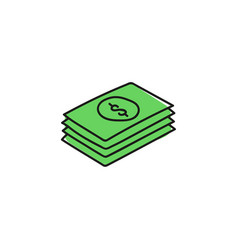 green banknote stack vector image