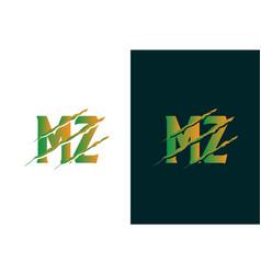 Green gradient mz letter template logo design vector