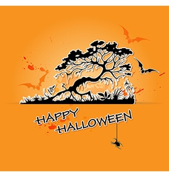 Halloween background with black tree vector