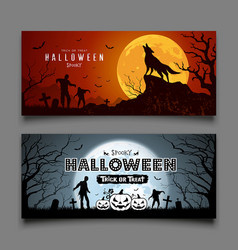 Happy halloween banners collection on moon night vector