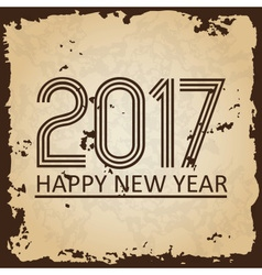 Happy new year 2017 on brown old paper with ragged vector