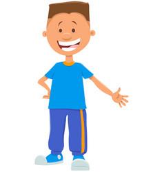 Happy teen boy cartoon character vector