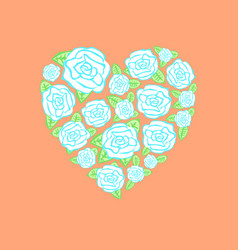 Heart of scattered roses vector