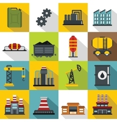 Industry icons set flat style vector