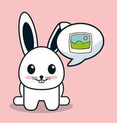 Kawaii bunny bubble speech image vector