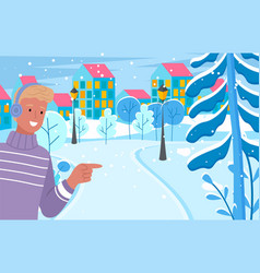 man smiling and standing on snowy city street vector image