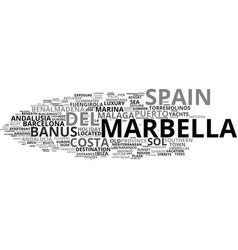 Marbella word cloud concept vector