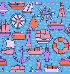 marine seamless pattern with ship icons in colored vector image