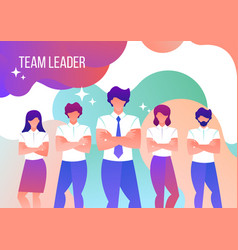 men and women work in a team leader vector image