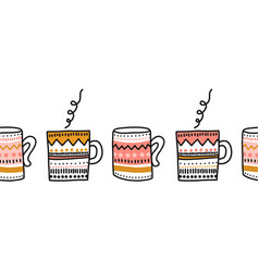 Mups seamless border repeating cup pattern vector