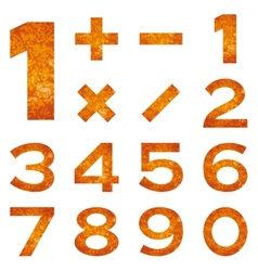 Numbers set orange lava vector image