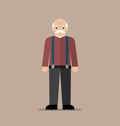 Old man standing full length vector