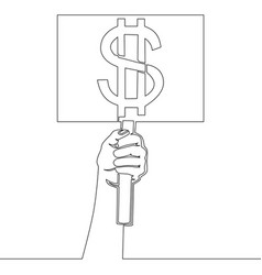 One line hand holding signboard with dollar sign vector