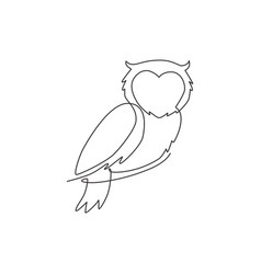 One single line drawing elegant owl bird for vector