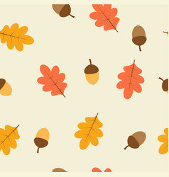 Pattern with oak leaves and acorns vector