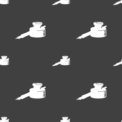 Pen and ink icon sign Seamless pattern on a gray vector