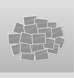 Pile of realistic blank photo frames vector