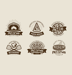 Pizza pizzeria logo or label food symbol set vector
