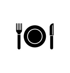 plate and cutlery fork knife flat icon vector image