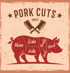 pork cuts vintage scheme for butcher shop vector image