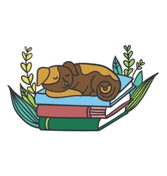 Postcard with adorable sleepy puppy books vector