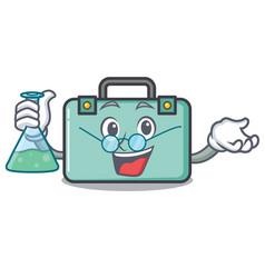 Professor suitcase character cartoon style vector