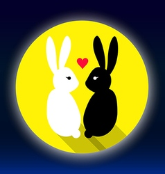 rabbits lover on the moon vector image