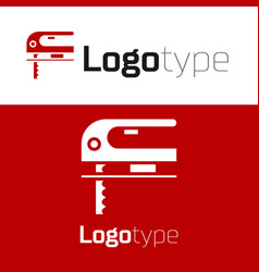 red electric jigsaw with steel sharp blade icon vector image