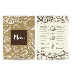 restaurant menu card with prices vector image