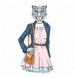Retro hipster fashion animal cheetah woman model vector