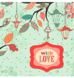 Scrapbooking background with patch branch and vector