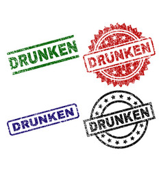 Scratched textured drunken stamp seals vector