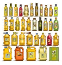 Set of cooking oil in bottles vector