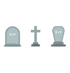 set of grave icons in flat design vector image