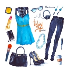 Set trendy look watercolor clothes vector