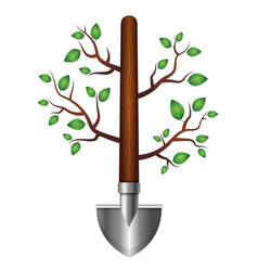 Shovel with branches and leaves for the garden vector
