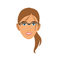 Silhouette face girl cartoon vector