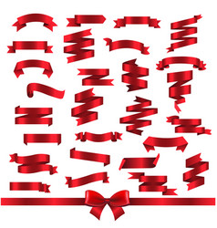 silk red ribbons isolated white background vector image