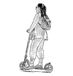 Sketch a teen girl strolling with her scooter vector